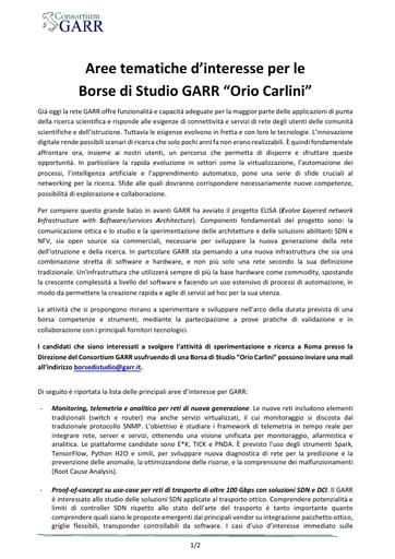 Temi borse di studio GARR - Bando 2017