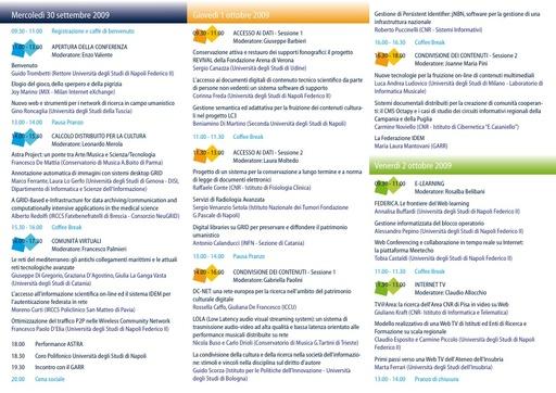 Conferenza GARR 2009 - Programma