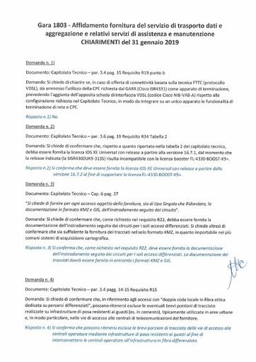 Bando 1803 - Chiarimenti al 31-1-2019