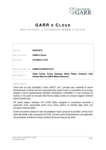 GARR e Cloud