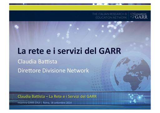 La rete e i servizi del GARR - C. Battista