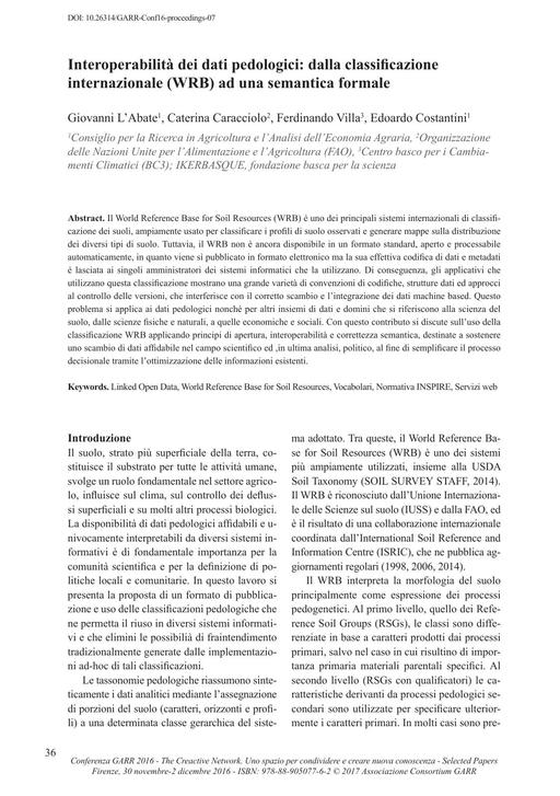 Selected Papers Conferenza GARR 2016 - L'Abate