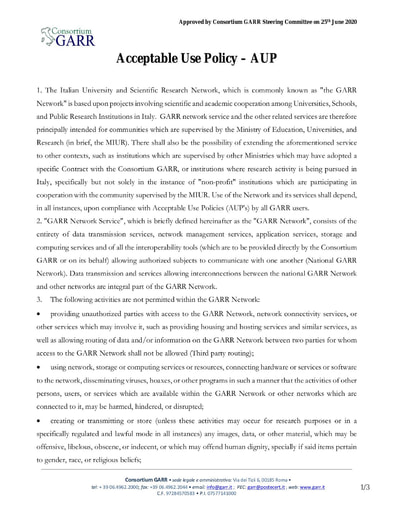 Acceptable Use Policy - AUP - ENG - ver. 25/06/2020