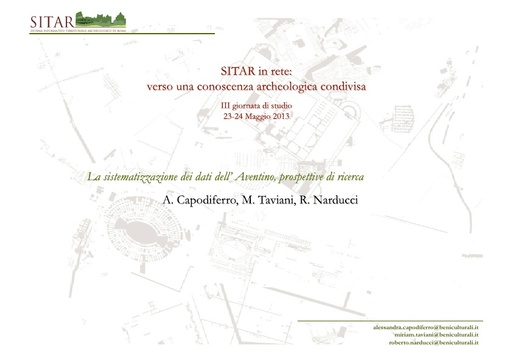 Sitar13 - Presentazione - Capodiferro - Taviani - Narducci