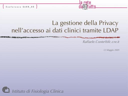 Conferenza GARR 2005 - Presentazione - Conte