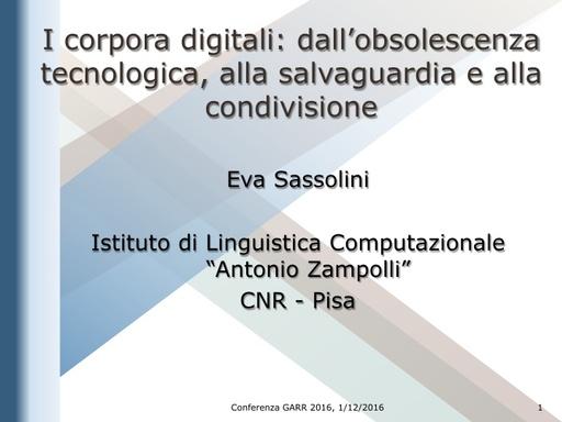 Conferenza GARR 2016 - Presentazione - Sassolini