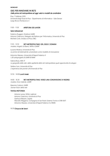 Workshop Pisa 2019 - Programma