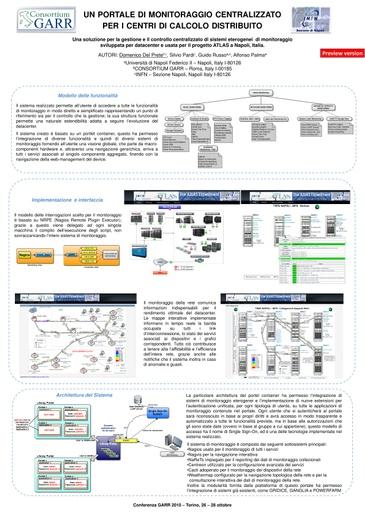 Conferenza GARR 2010 - Poster - Del Prete