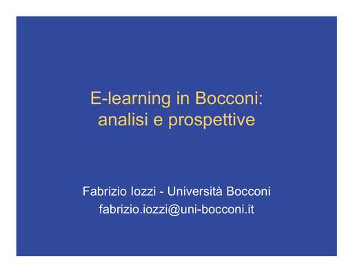 WS04 - Iozzi - E-learning in Bocconi: analisi e prospettive