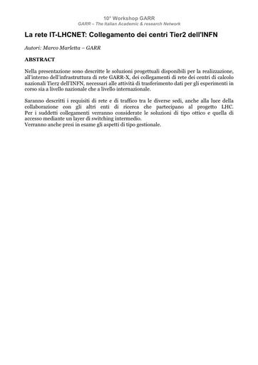WS10 - Marletta - Abstract - La rete IT-LHCNET