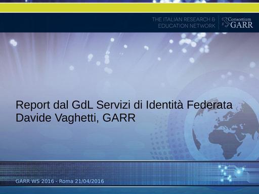 WS16 - GDL - Servizi di Identità Federata