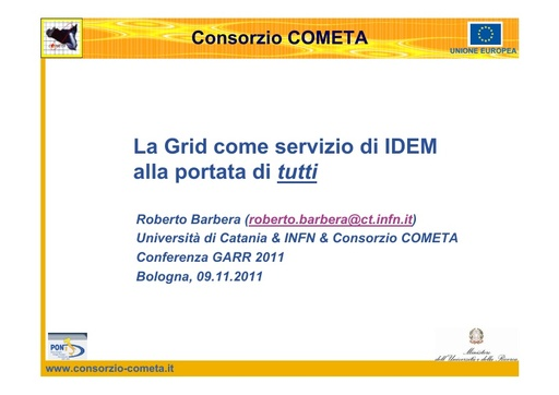 Conferenza GARR 2011 - Presentazione - Barbera R.