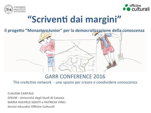 Conferenza GARR 2016 - Presentazione - Cantale