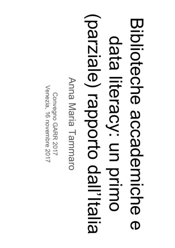 Conferenza GARR 2017 - Presentazione - Tammaro