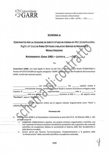 Bando 1901 - Schema di Contratto