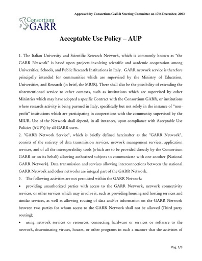 Acceptable Use Policy - AUP - ENG - ver. 17/12/2003
