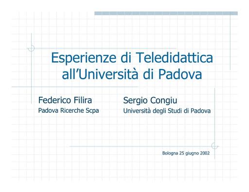 WS04 - Congiu - Esperienze di teledidattica all'Università di Padova