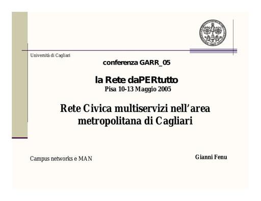 Conferenza GARR 2005 - Presentazione - Fenu